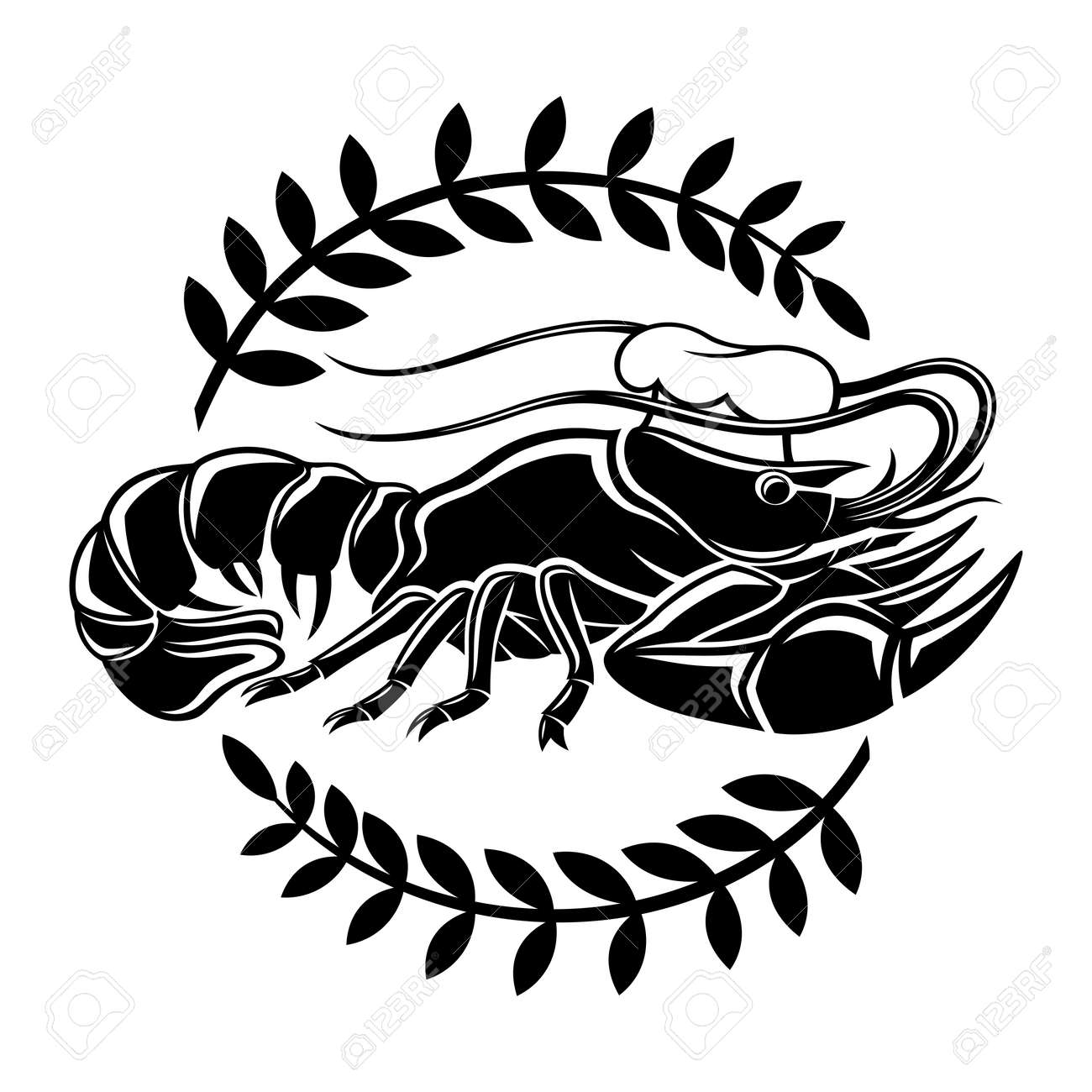 Illustration with lobster icon in chef's hat isolated on white background. - 167288149