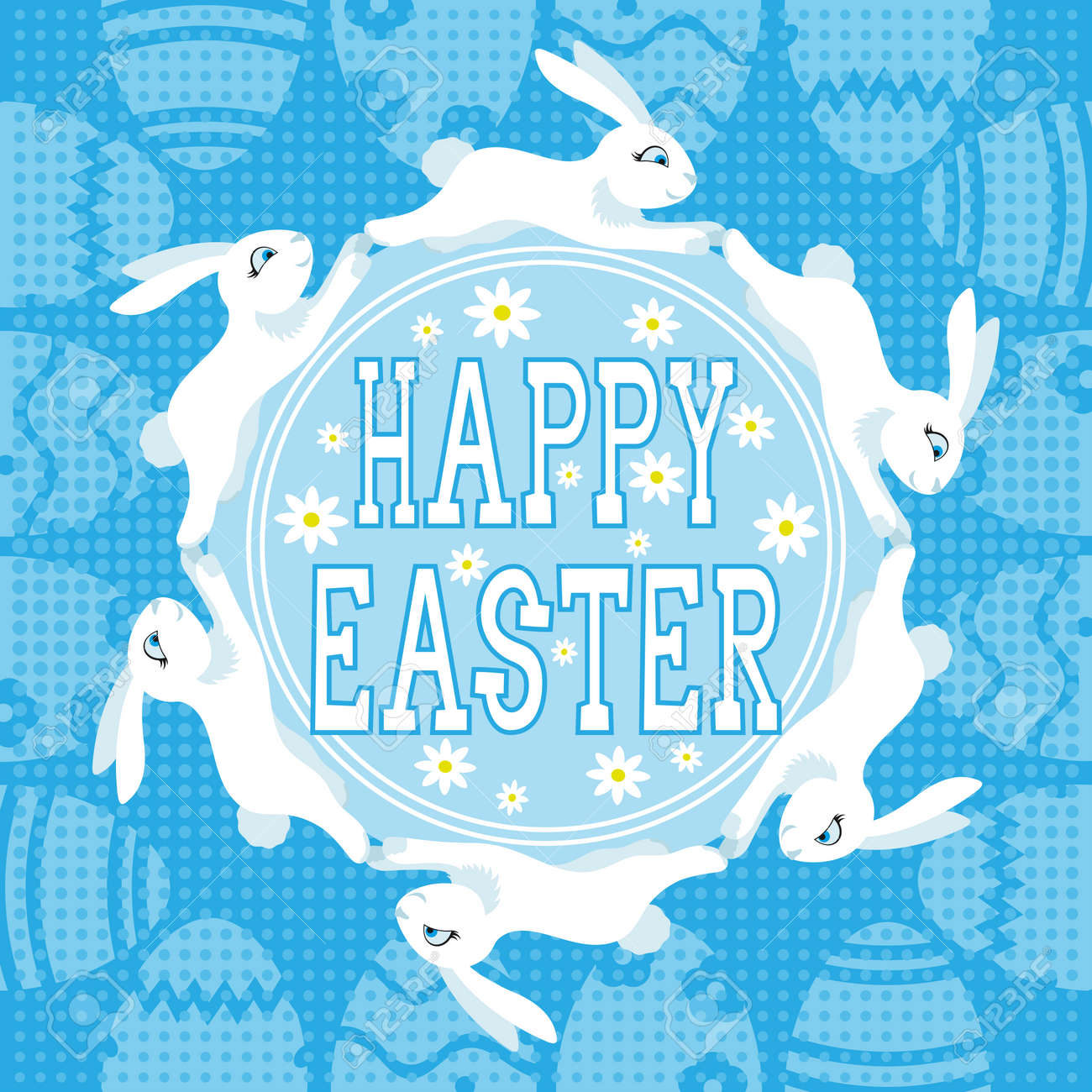 Happy Easter banner with Easter bunnies on blue background. - 167343358