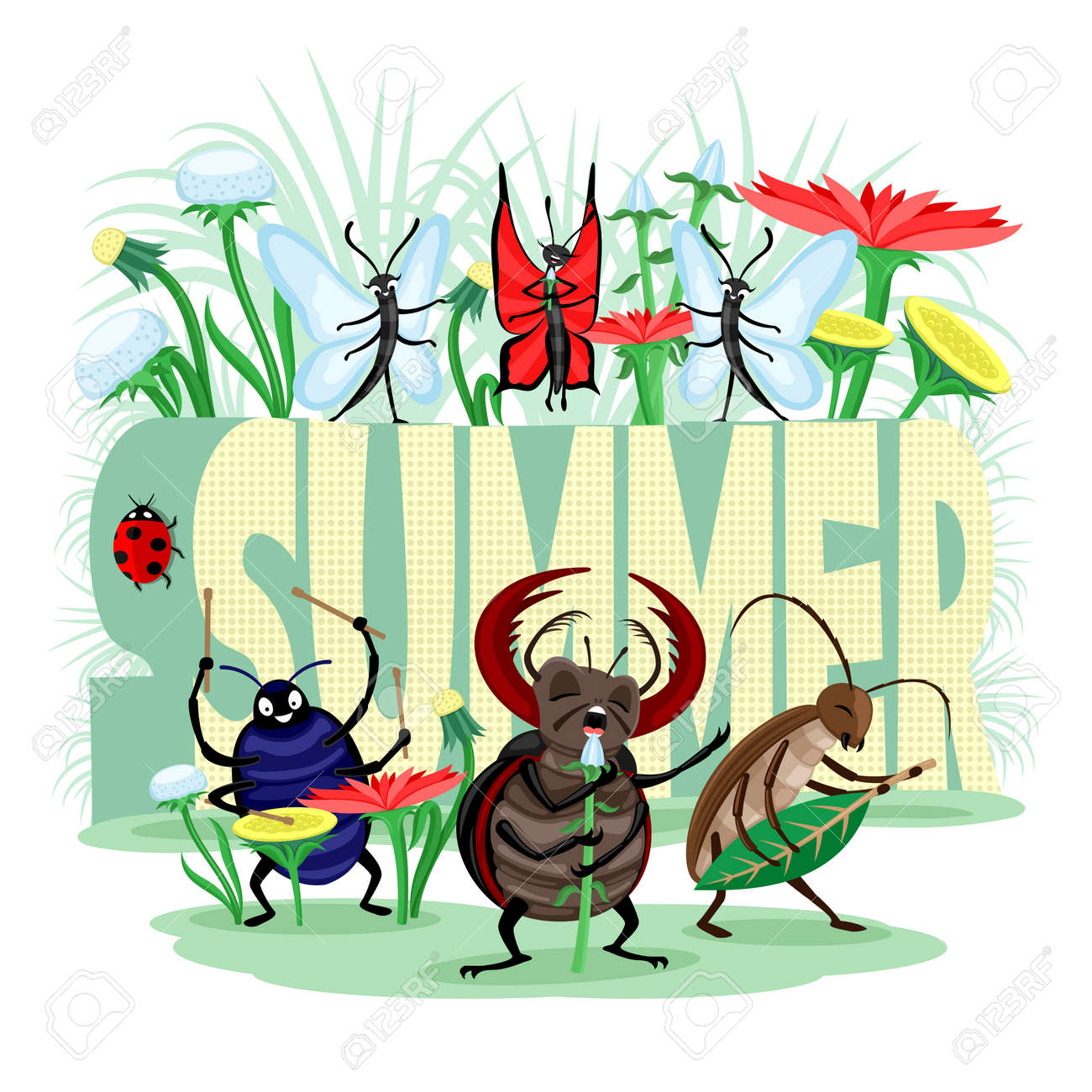 Summer illustration with musical group of insects beetles and butterflies on white background. - 168969127