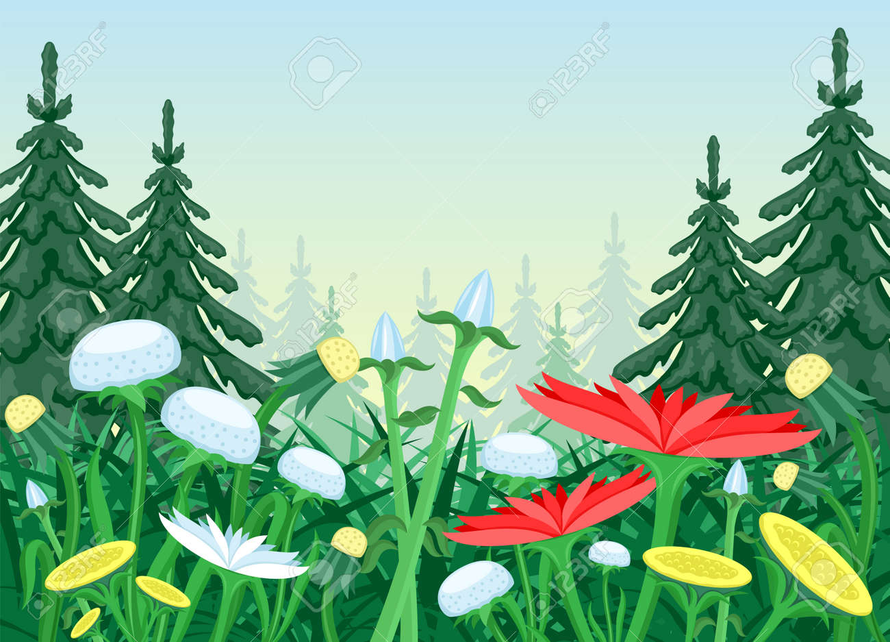 Nature illustration with flower meadow in coniferous forest. - 167402514