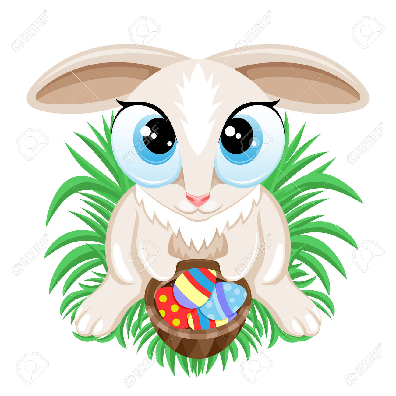 Easter bunny with Easter eggs in a basket sitting on the grass on a white background. - 168969132