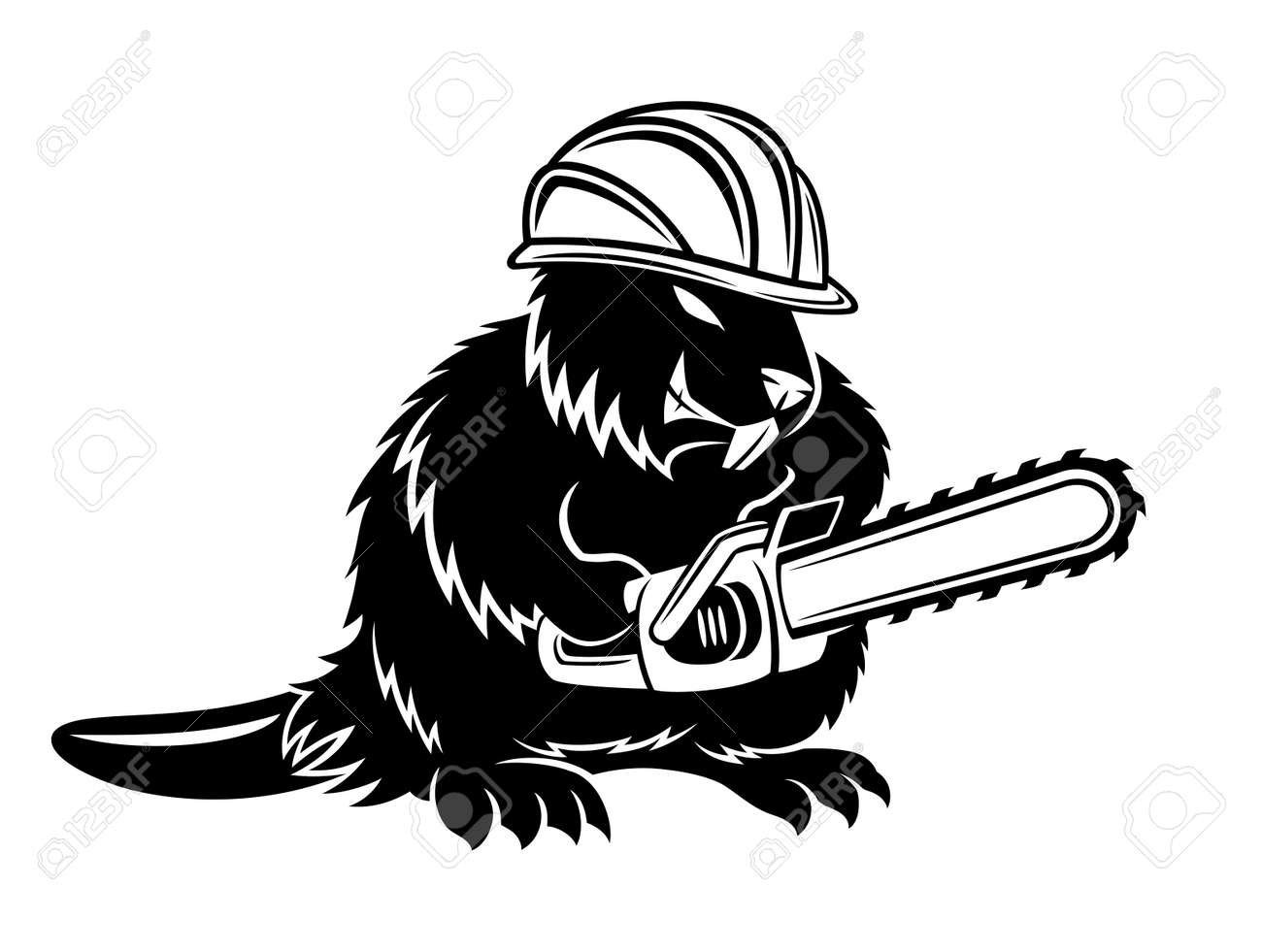 Beaver icon with chainsaw on white background. - 168969133