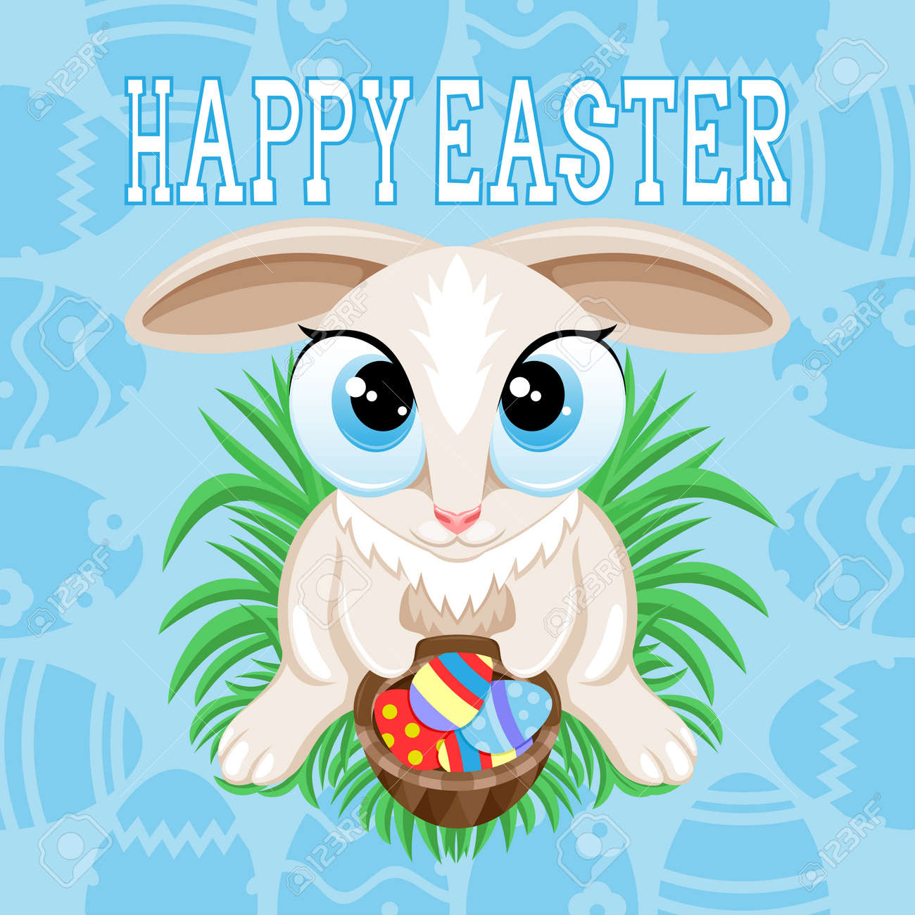 Illustration for Happy Easter with Easter bunny on blue background. - 168969135