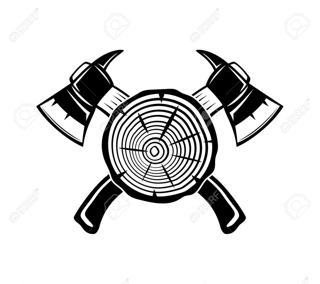Illustration with two crossed axes and wooden element on white background. - 168969138