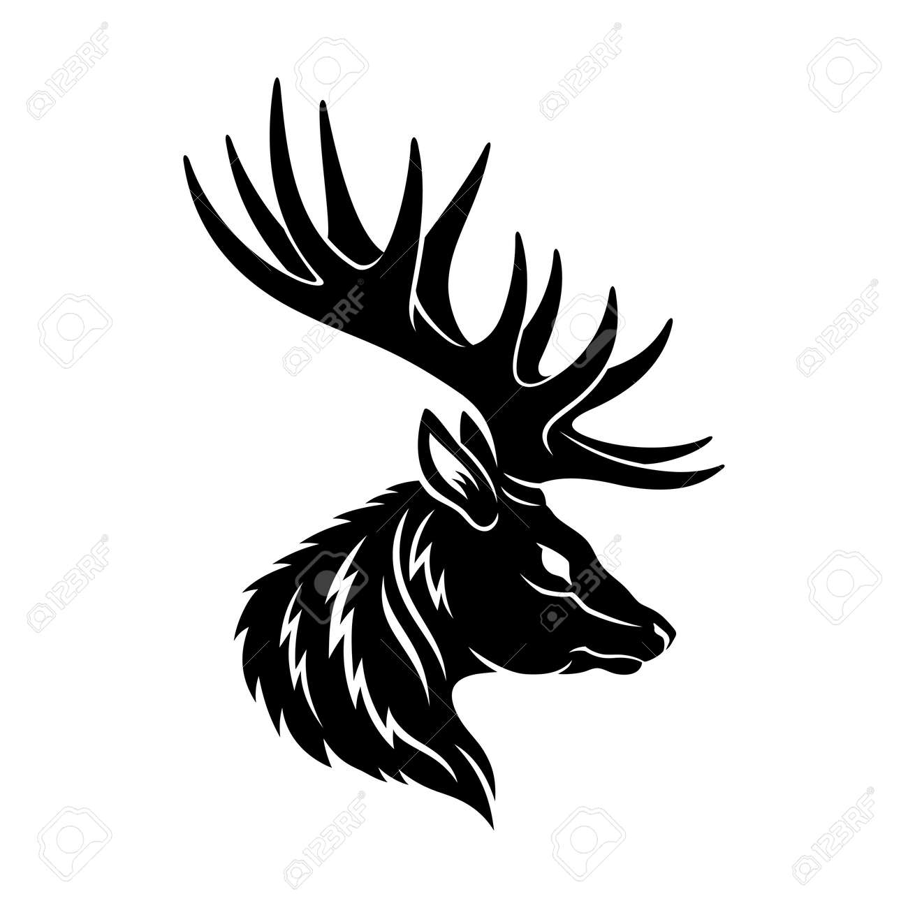 Illustration with deer icon isolated on white background. - 168969173