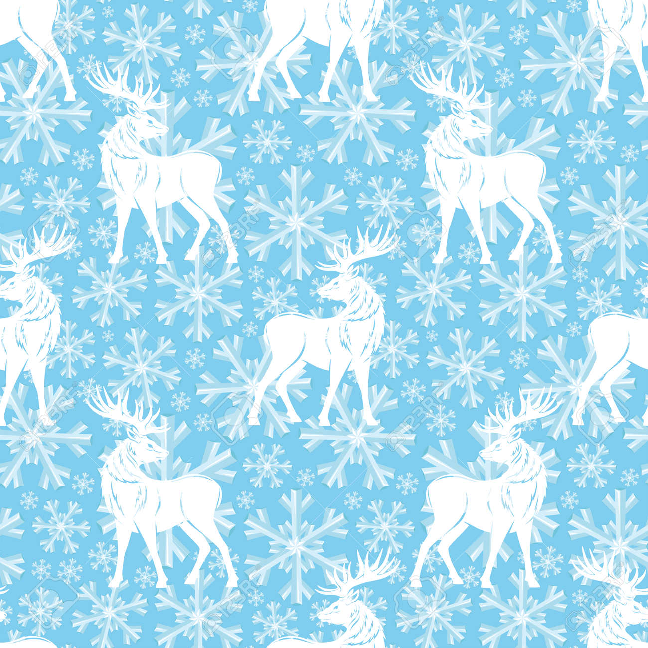 Pattern with deer and snowflakes on a blue background. - 168969179