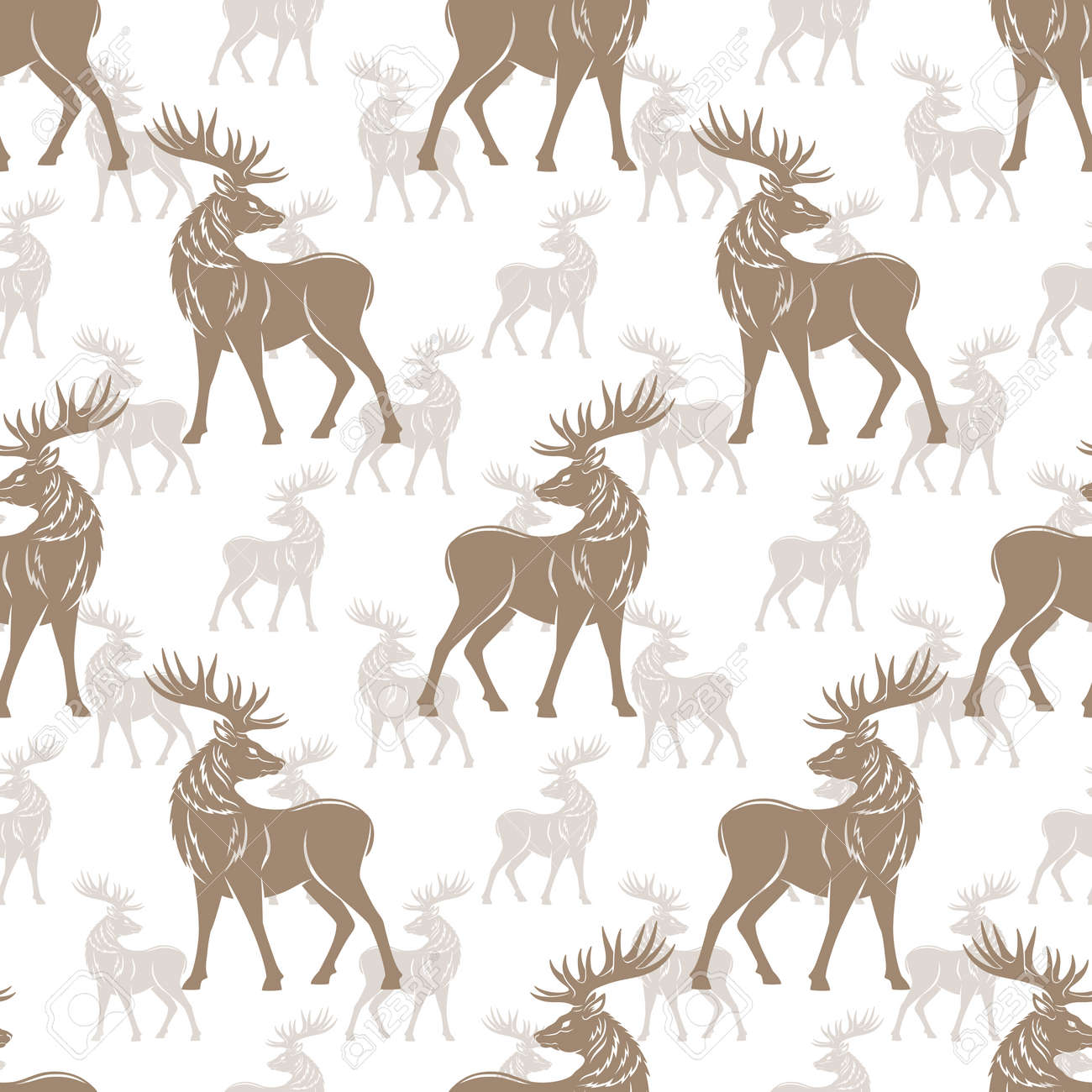 Seamless pattern with deer on white background. - 168969182