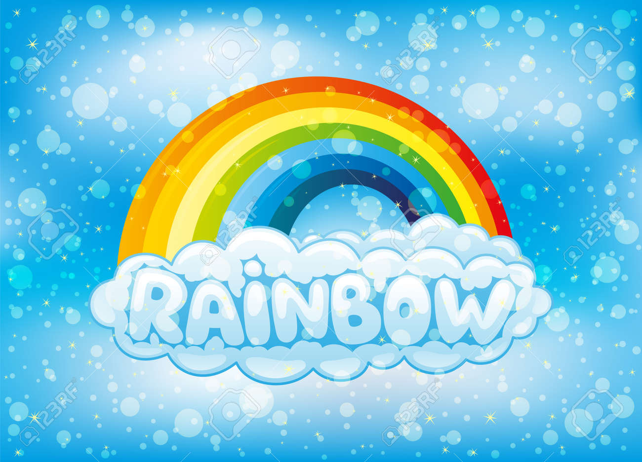 Illustration of a bright rainbow and clouds in the blue sky. - 168969190