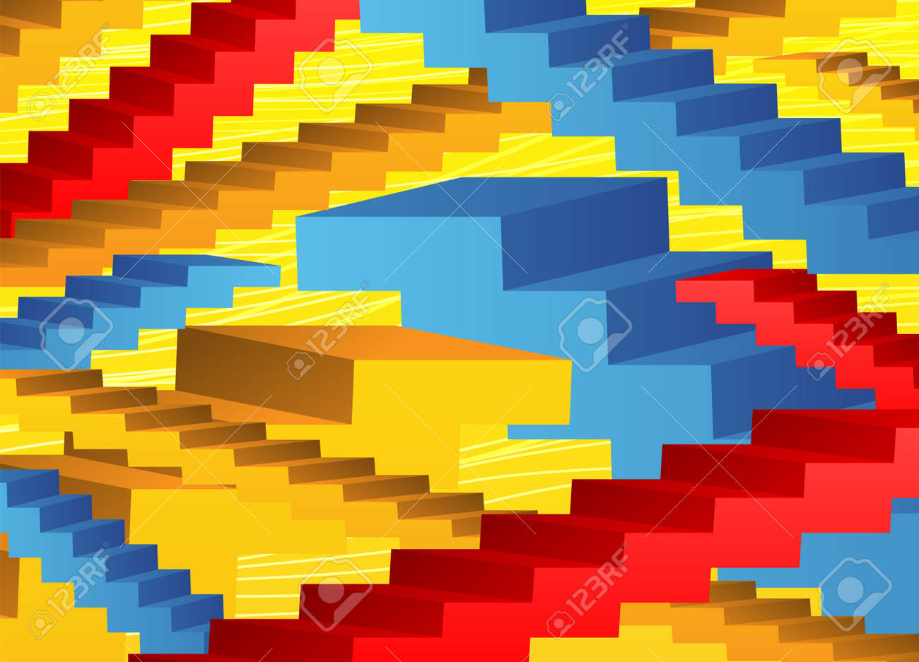 Abstract background with colored stairs on a yellow background. - 168969192