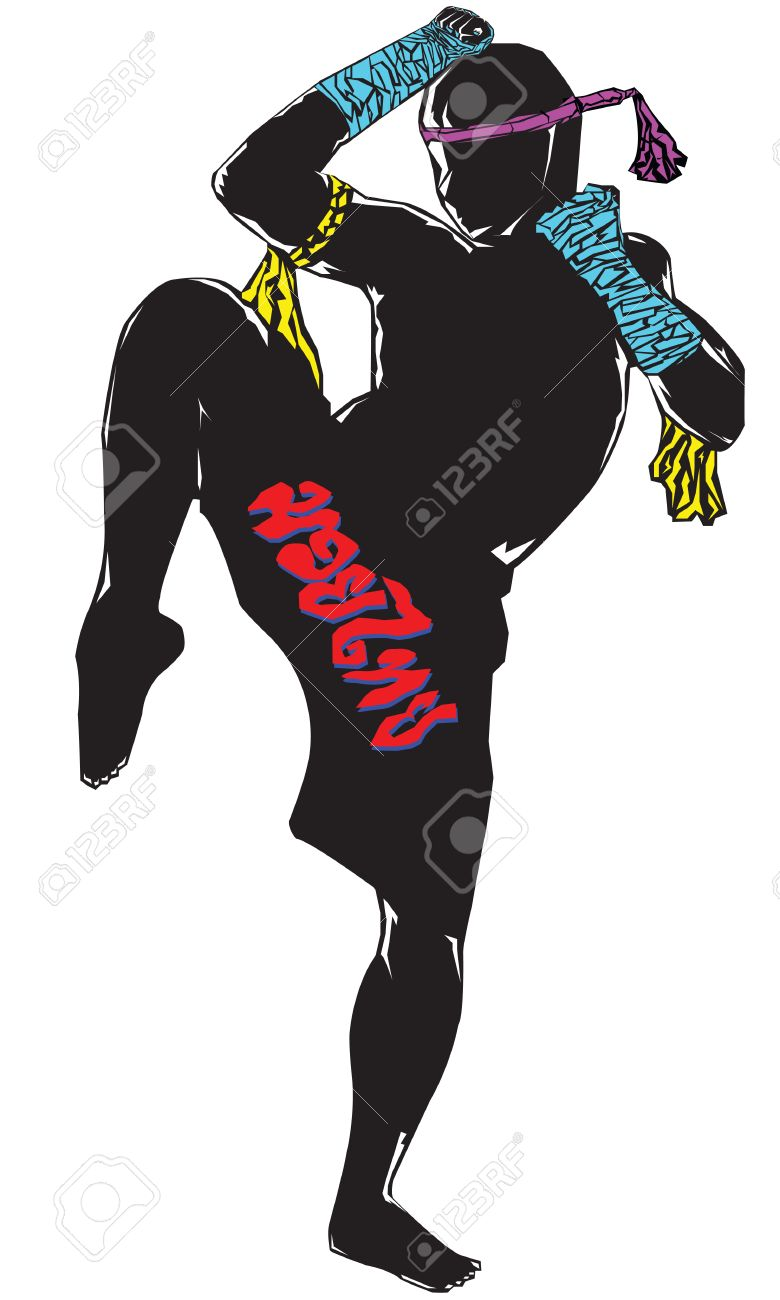 Muay Thai Silhouette Vector Black Silhouette Muay Thai
