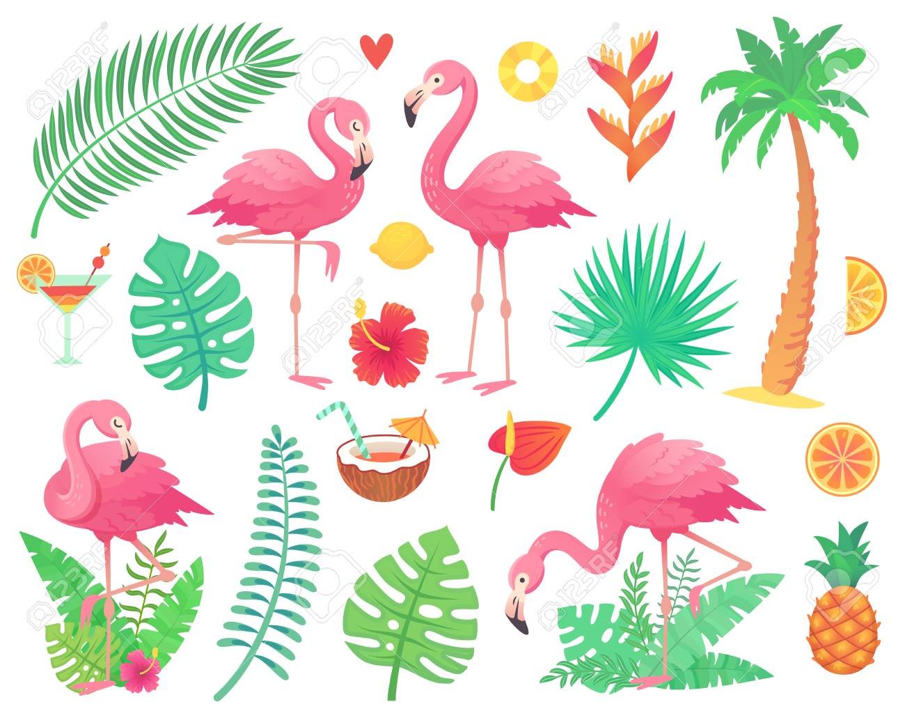 Cartoon Cute Pink Flamingo And Tropical Plants Beach Palm Green Stock Photo Picture And Royalty Free Image Image 102981303