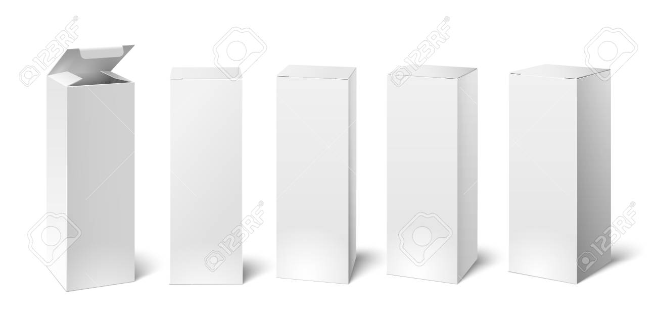 High white cardboard box mockup. Set of realistic vertical tall cardboard rectangular cosmetic or medical packaging, paper boxes. Vector 3D illustration isolated collection - 106003813