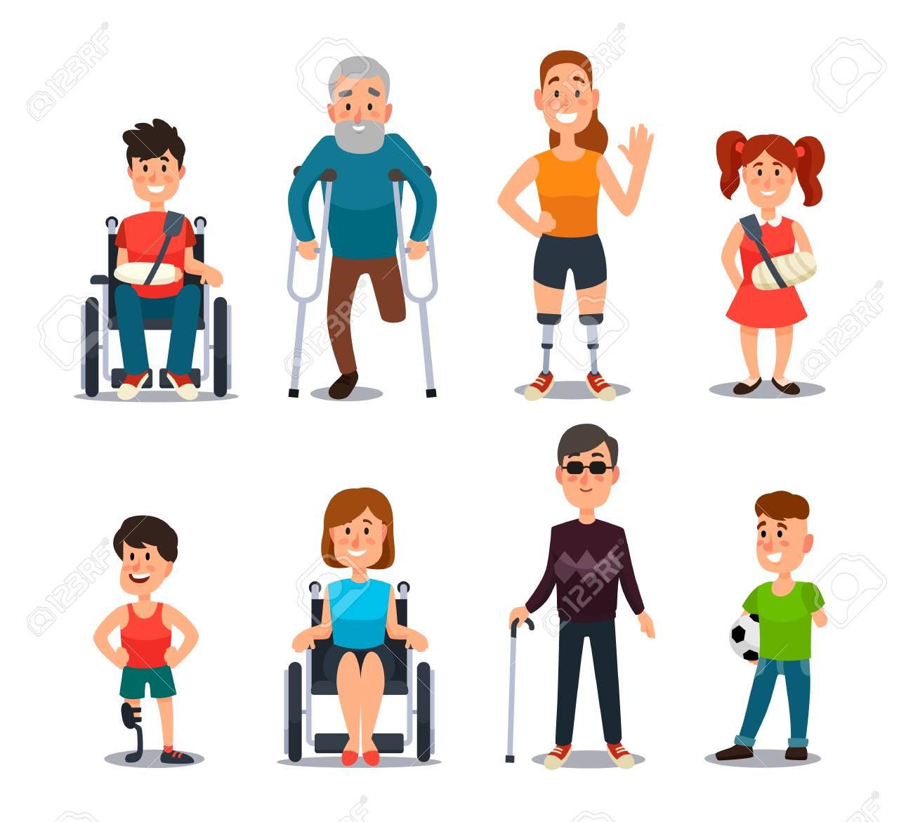 Disability people. Cartoon sick and disabled characters. Person in wheelchair, injured woman, elderly man and happy girl after accident diverse and sickness child colorful vector isolated set - 106148461