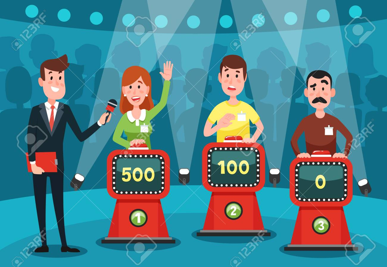 Young people guessing quiz questions. Intellectual game show studio with playing buttons on stands for male and female excited intelligent players character cartoon colorful vector illustration - 106069888