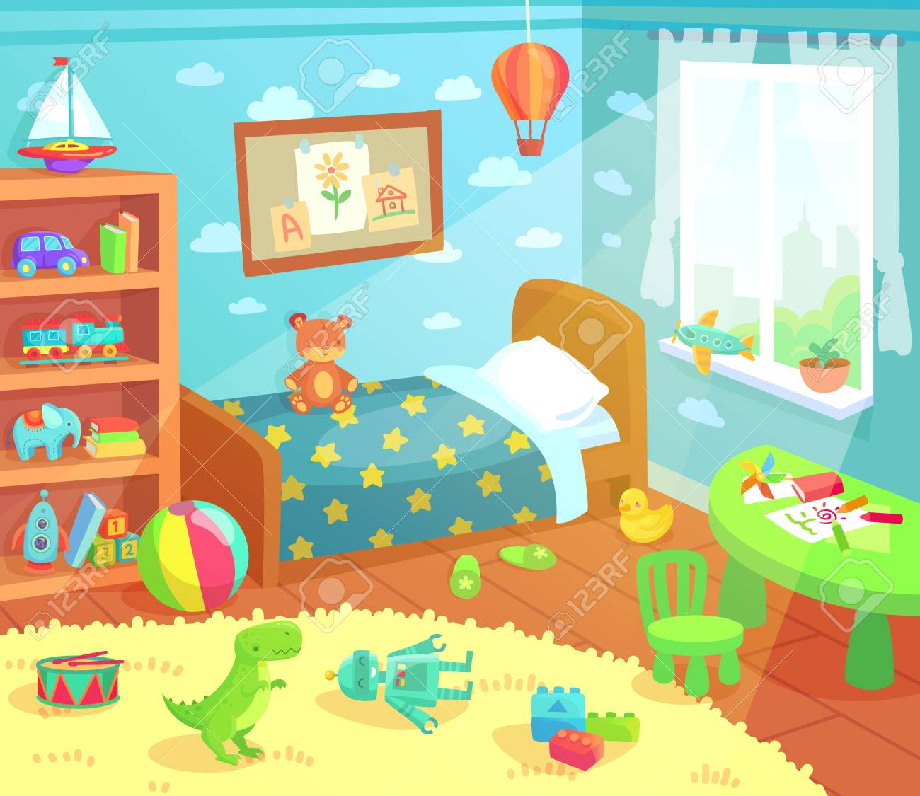 Cartoon Kids Bedroom Interior Home Childrens Room With Kid Bed