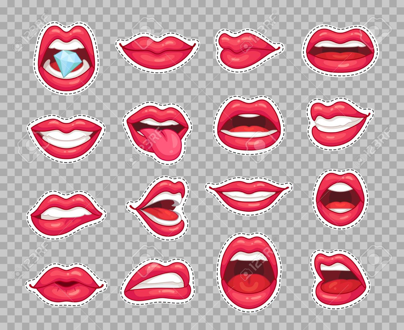 Candy Lips Patches Vintage 80s Fashion Cartoon Stickers With