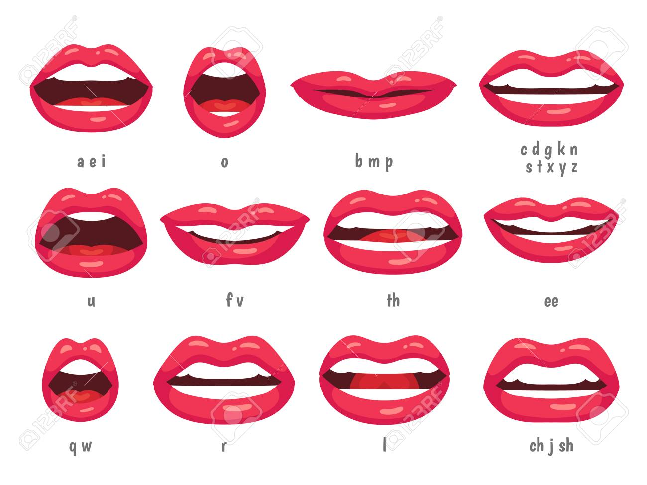 mouth animation lip sync animated phonemes for cartoon talking rh 123rf com Nose Vector Tongue Vector