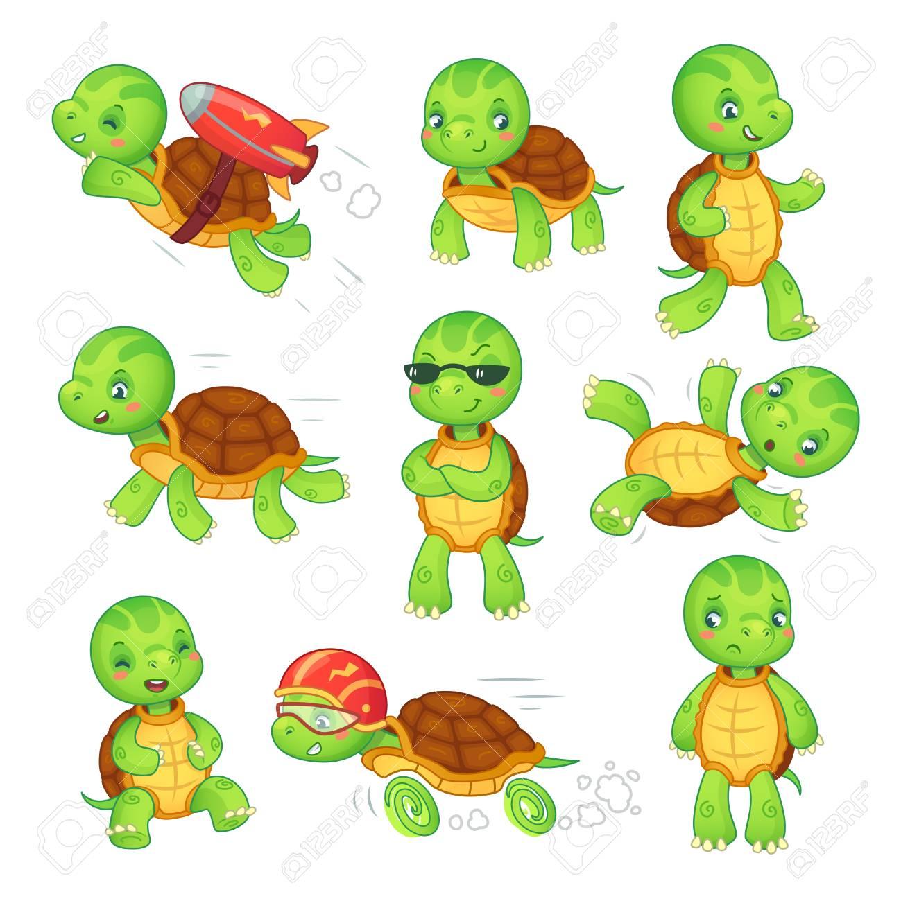 Turtle Child Running Fast Tortoise Cartoon Characters Icon