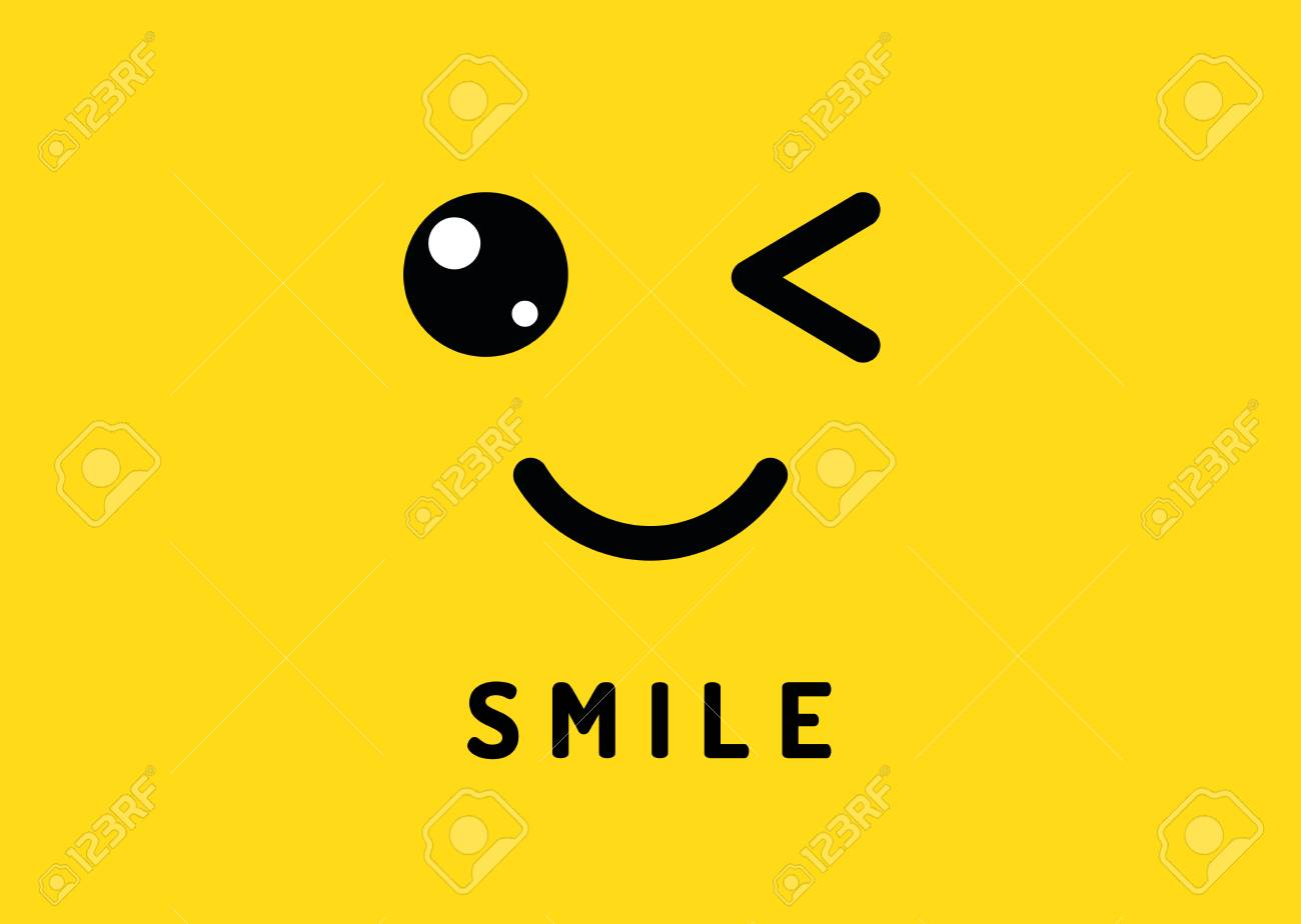 Smile and winking happy smiling face funny wink isolated cute emoji on yellow concept
