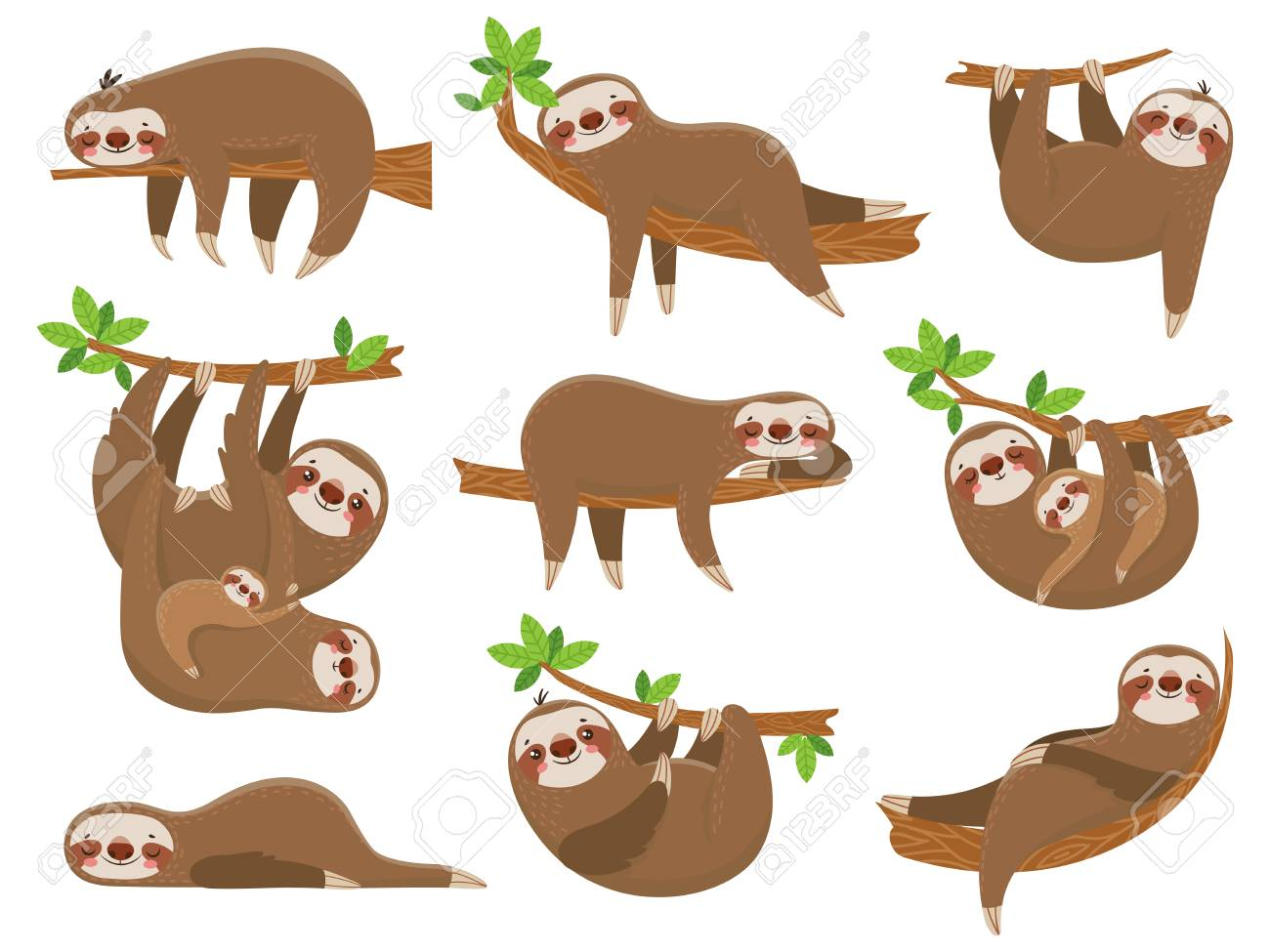 Cartoon sloths family. Adorable sloth sleepy animal at jungle rainforest different lazy sleeping. Funny brown cute animals happy sleep on tropical forest trees vector icons isolated set - 114949039