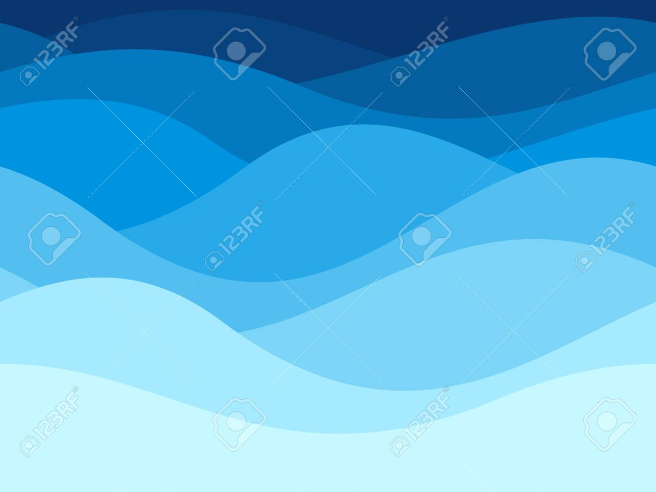 Blue waves pattern. Summer lake wave lines, beach waves water flow curve abstract landscape, vibrant silk textile texture vector seamless background - 111655105