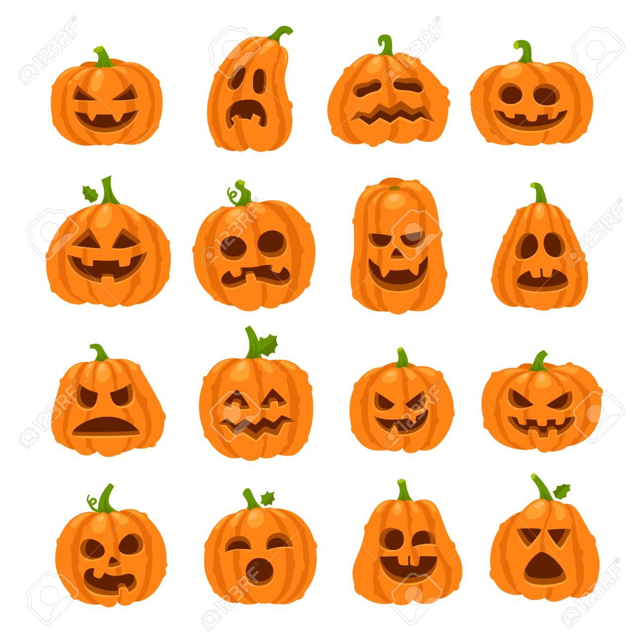 Halloween Pumpkin Cartoon Images.Cartoon Halloween Pumpkin Orange Pumpkins With Carving Scary
