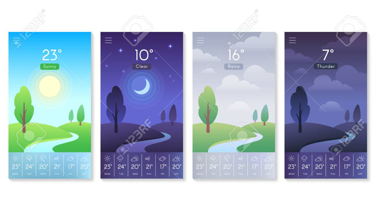 Landscape for weather app. Beautiful daytime sky with sun, moon at night noon and rainy clouds. Morning and day interface background for mobile screen vector concept isolated icons set - 110513701