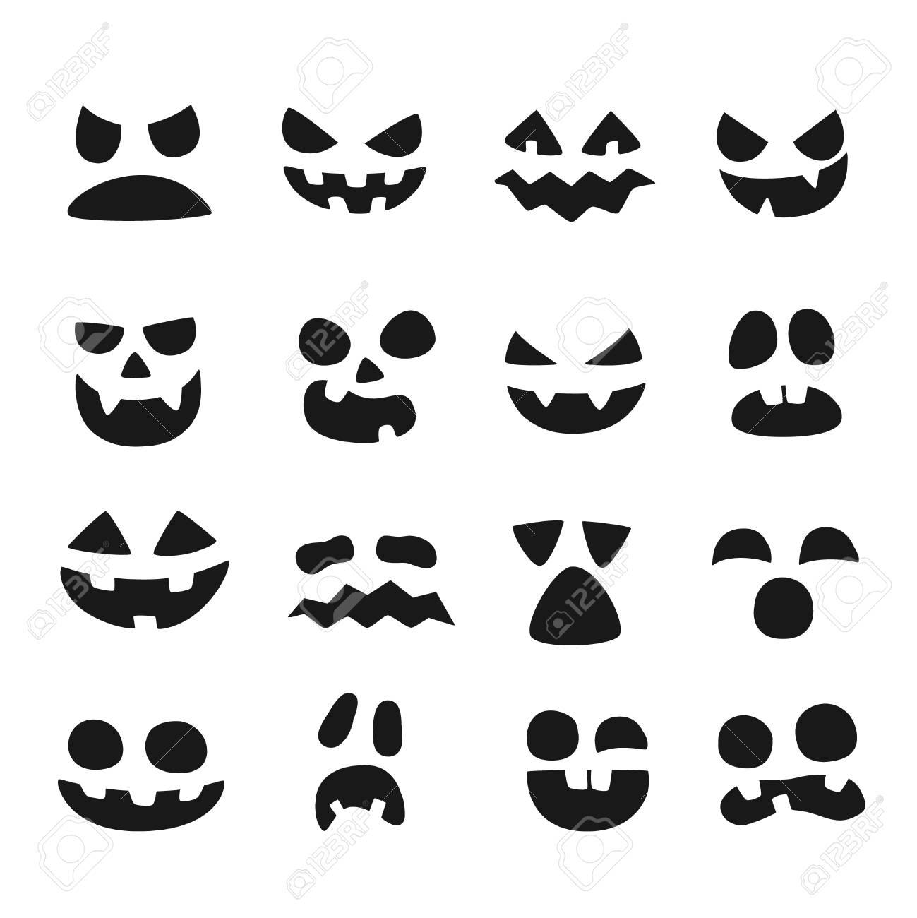 Pumpkin Faces Halloween Evil Devil Face Scary Smile Mouth