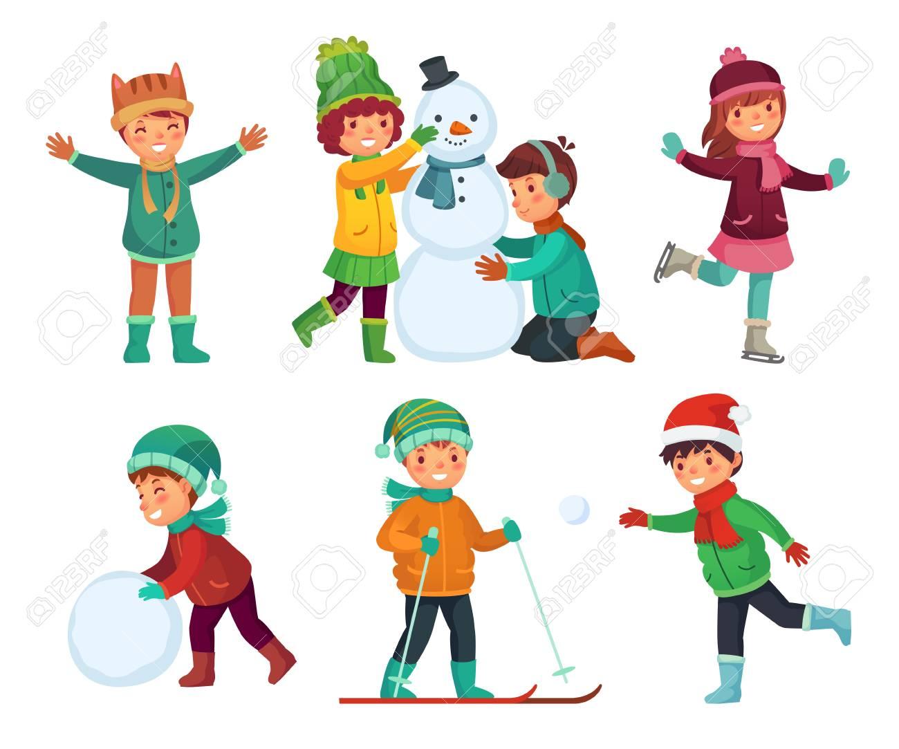 Happy Kids Winter Activities Children Playing With Snow Cartoon