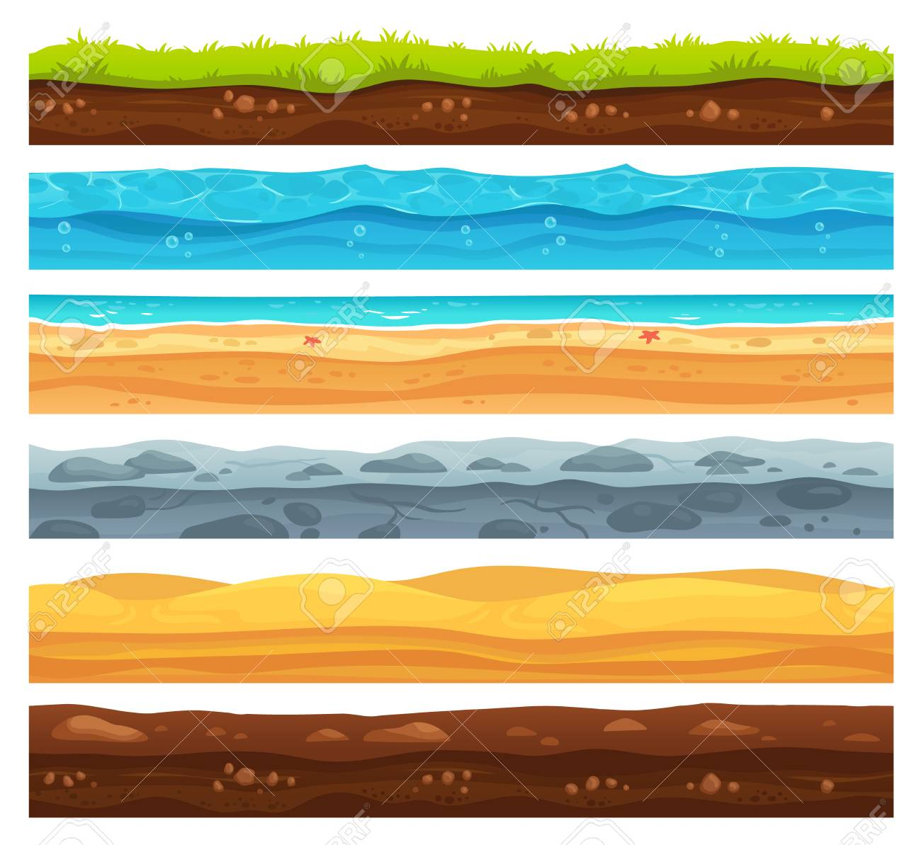 Seamless ground surface. Green grass land landscape, sandy desert and beach with sea water. Grounds layers texture for game level development, geology vector cartoon isolated set - 109675134