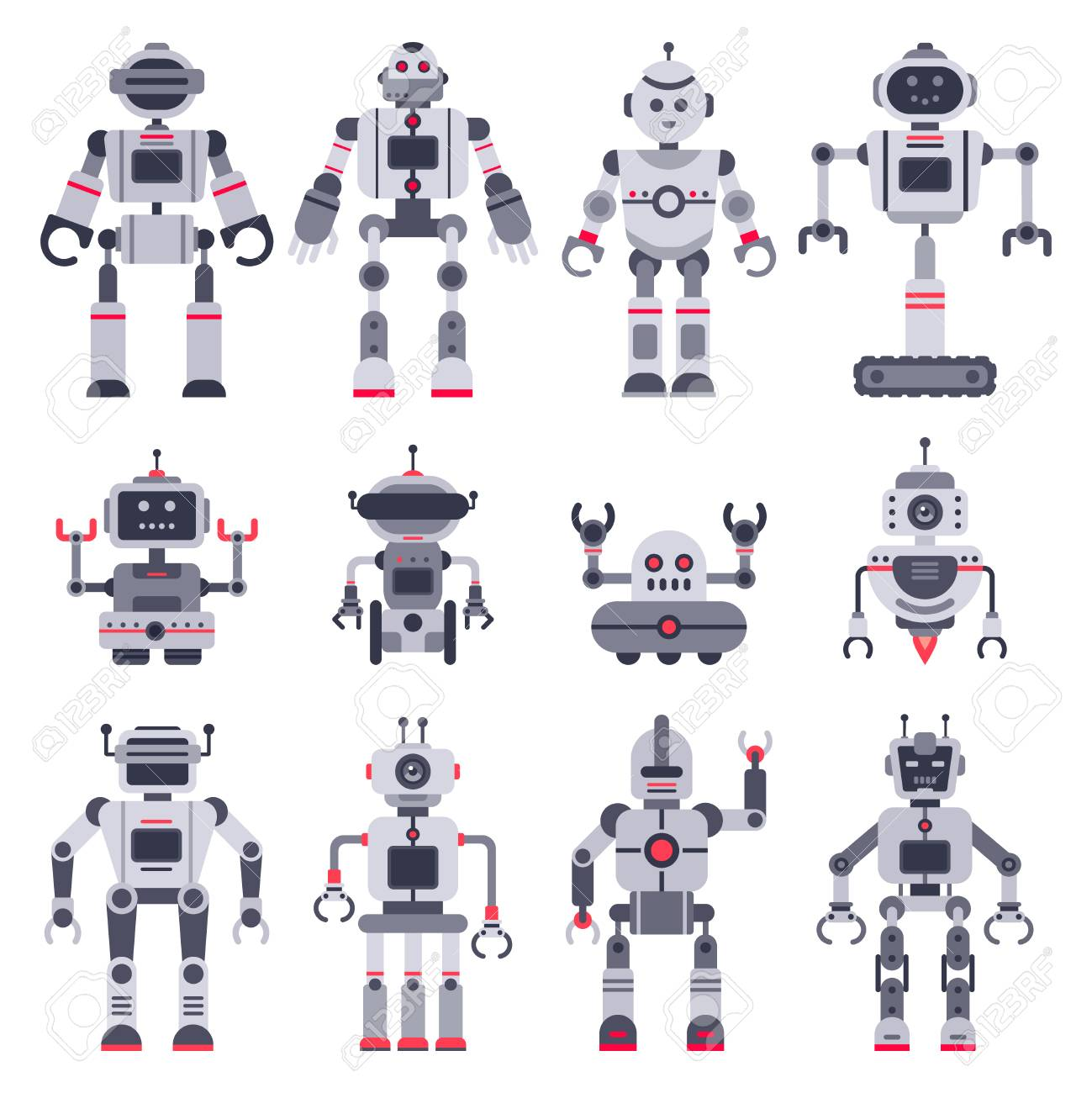 Flat Robots. Electronic Robot Toys, Cute Chat Bot Mascot And ...