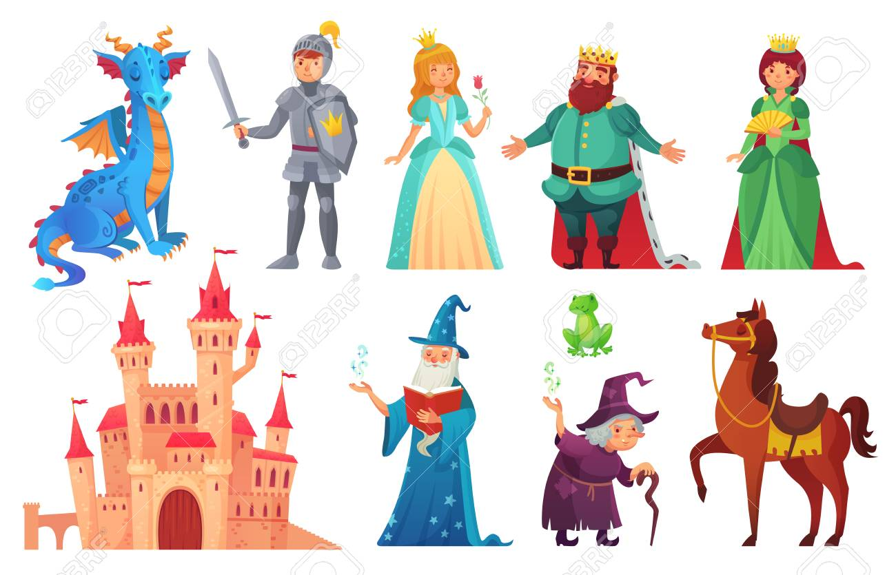 Fairy tales characters. Fantasy knight and dragon, prince and princess, magic world queen and king with castle tale magic. Fairytale isolated cartoon vector icons set - 110800609