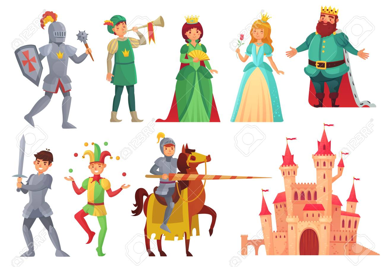 Medieval characters. Royal knight with lance on horseback, princess, kingdom king and queen, historical renaissance chivalry and nobility fairytale isolated vector icons character set - 110800610