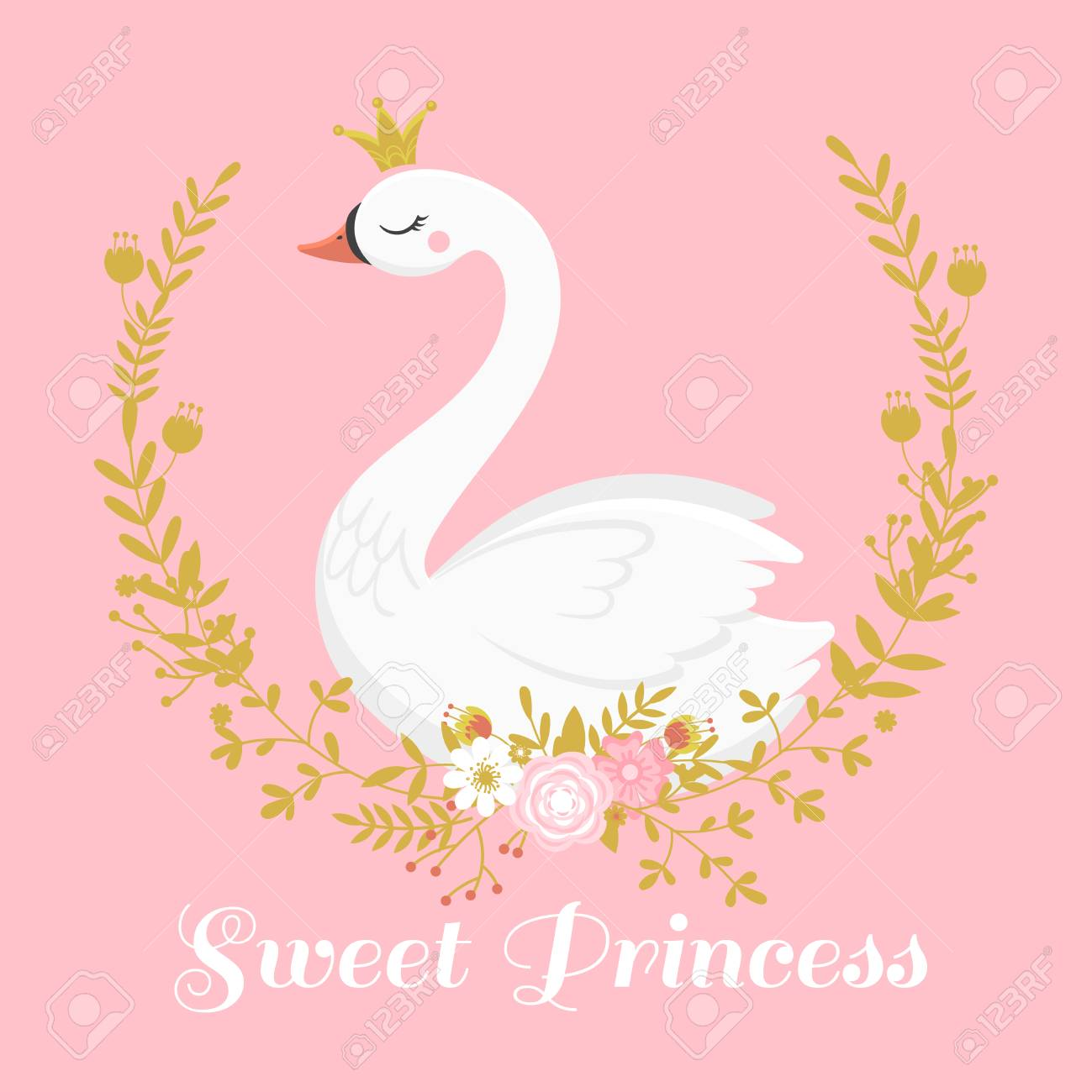 Cute Swan Princess Beautiful Lake Swans Bird In Golden Crown