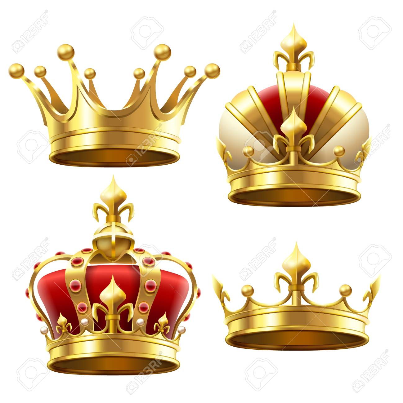 Realistic Gold Crown Crowning Headdress For King And Queen Stock