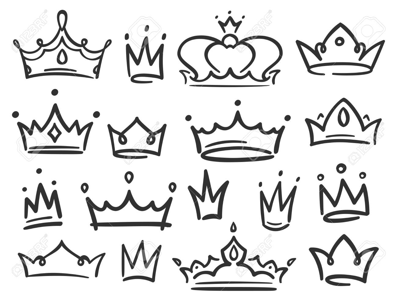 Sketch Crown Simple Graffiti Crowning Elegant Queen Or King Stock Photo Picture And Royalty Free Image Image 115389678