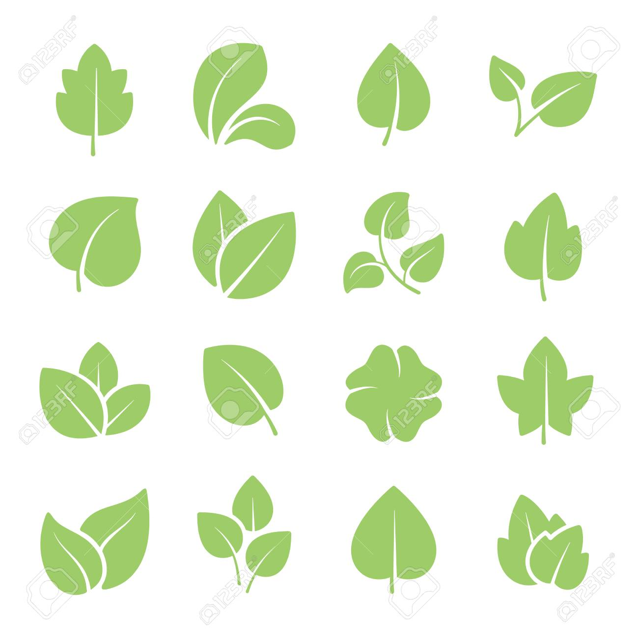 Green tree leaves. Ecology friendly, natural greens young plants pictograms and leaf or forest branch leaves. Nature greenery eco garden plant vector isolated icons set - 126931990