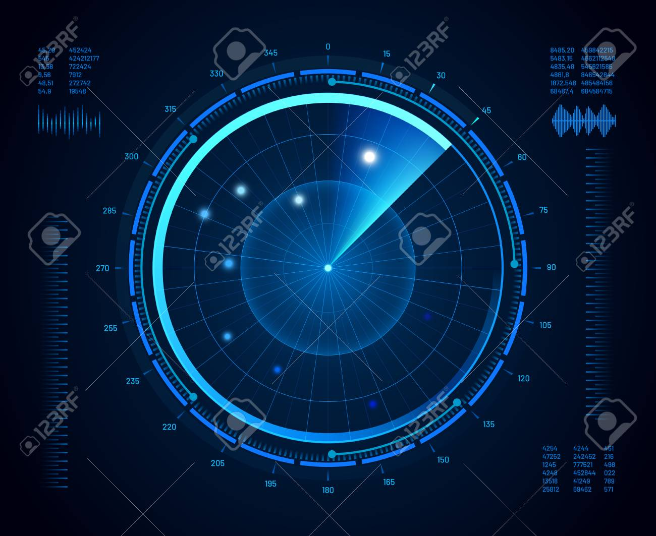 Futuristic radar. Military navigate sonar, army target monitoring screen and radar vision interface map or navy submarine satellite display interface. Aircraft compass vector isolated concept - 126772278