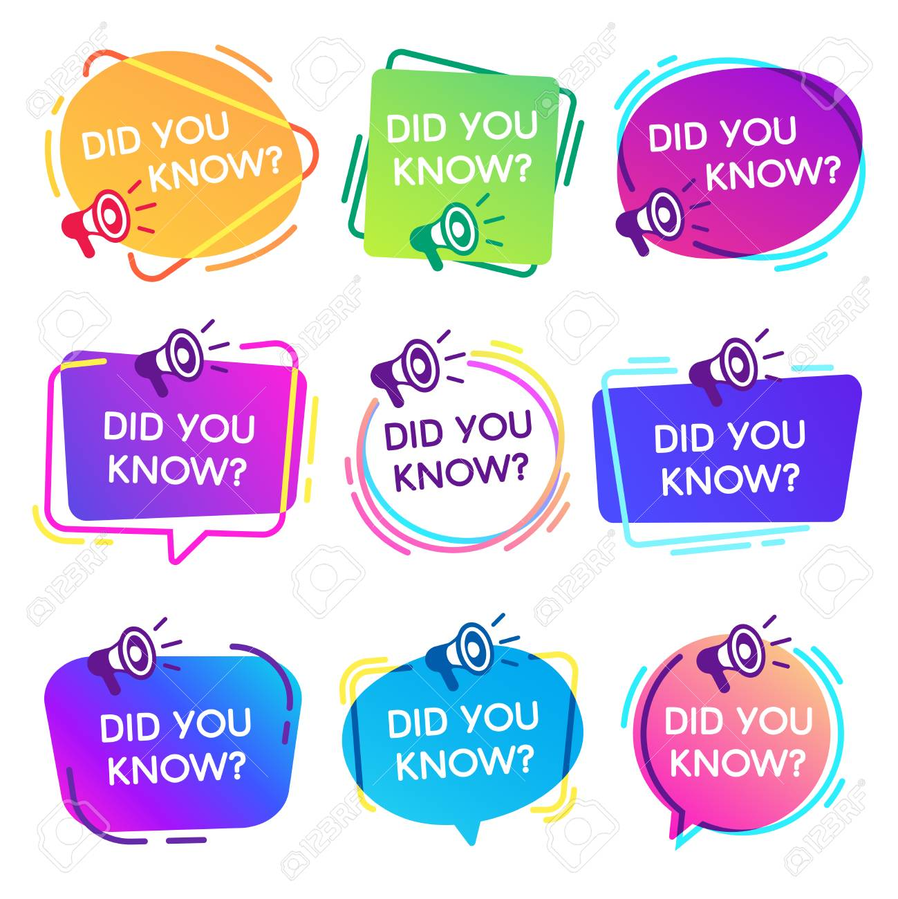 Did you know labels. Interesting facts speech bubbles, knowledge base label and social media faq banner. Knows fact news or thinking quiz isolated vector badges isolated icons set - 115389782
