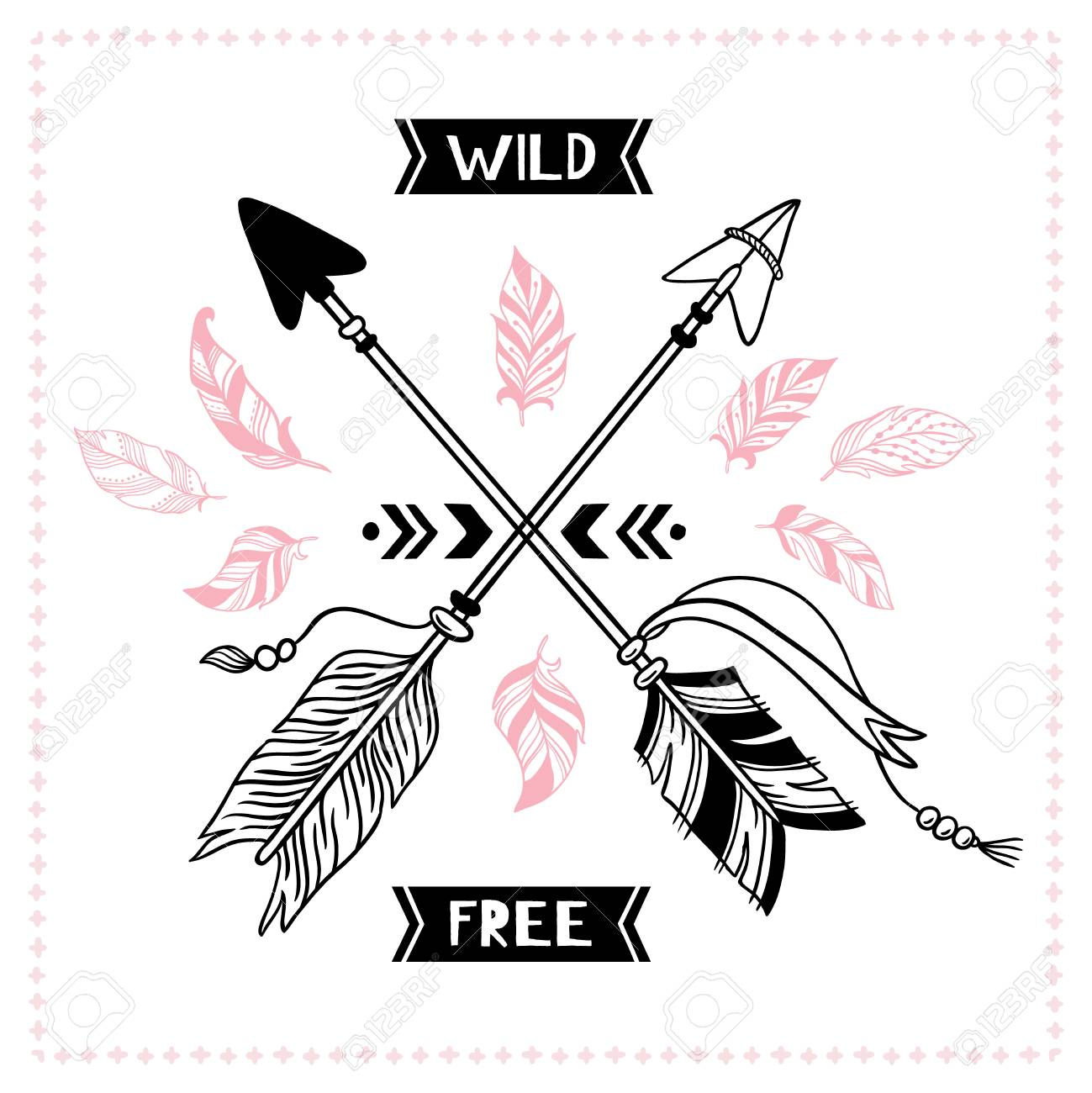 Wild free poster  Indian tribal cross arrows, american apache