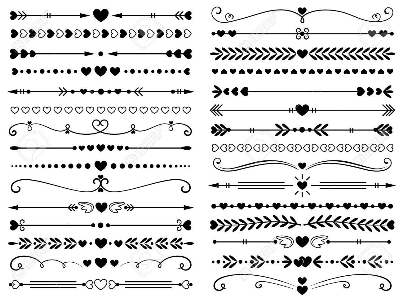 Hearts border divider. Love vintage decorative line separator,..