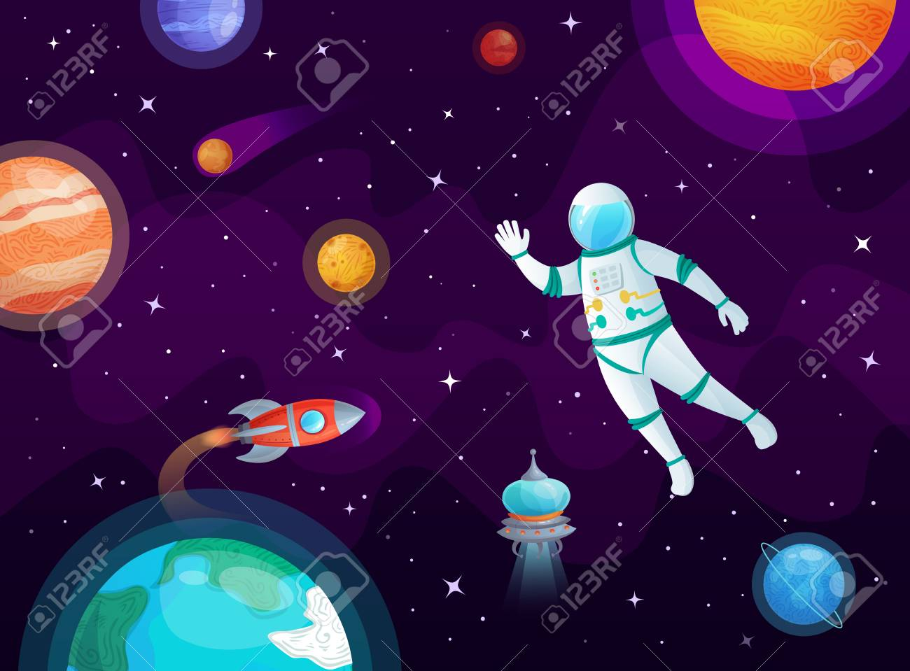 Cosmonaut in space. Astronaut spacecraft rocket in open space, universe planets and planetary. Solar system, globe and astronauts ship. Stars rockets travel cartoon vector background illustration - 118727449