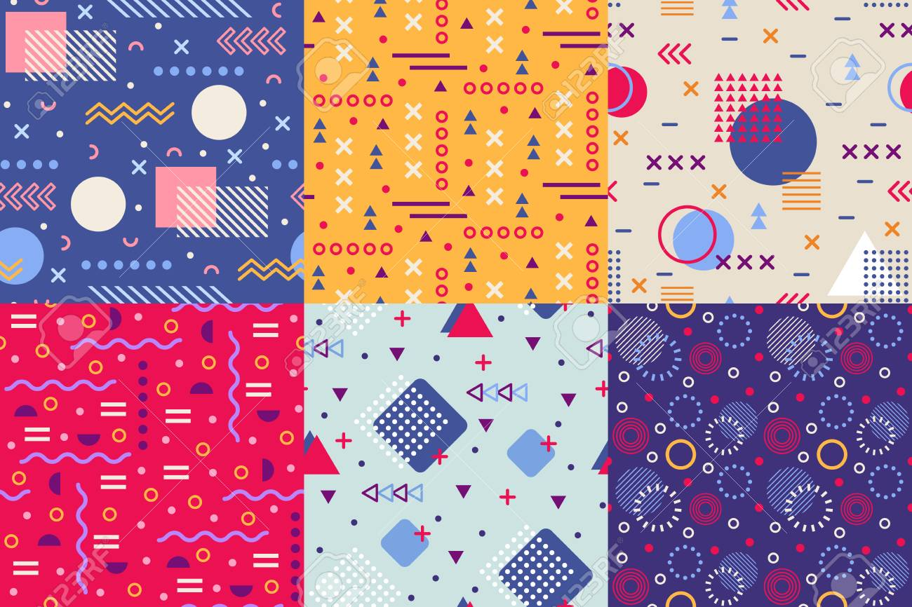 Memphis funky pattern  Retro 90s abstract shapes backgrounds