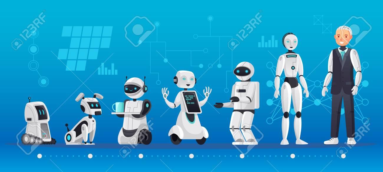 Robot generations. Robotics engineering evolution, robots ai technology and humanoid computer generation cartoon vector illustration - 118727599