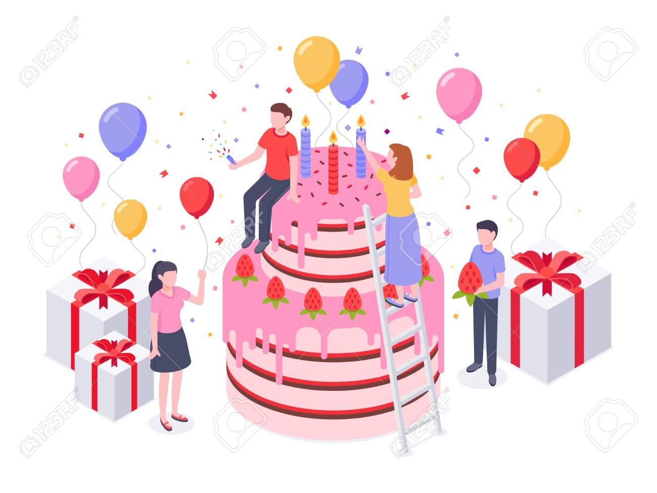 Swell Isometric Birthday Cake Party Confetti Cakes Present And Funny Birthday Cards Online Benoljebrpdamsfinfo