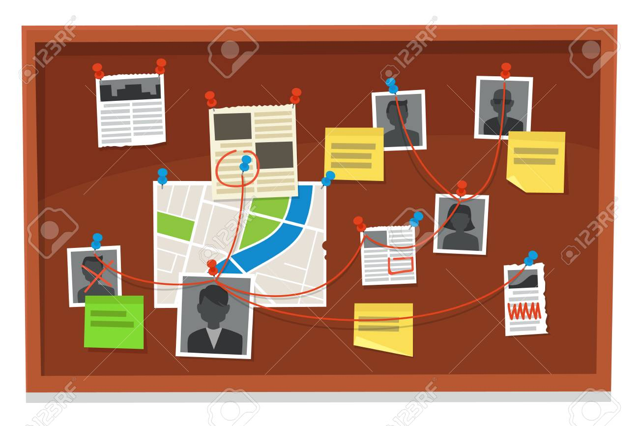 Detective board. Crime evidence connections chart, pinned newspaper and police photos. Investigation evidences, police investigators law evidence board, detectives research scheme vector illustration - 118918898