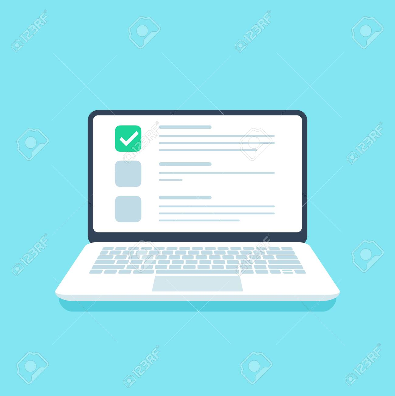 Online Quiz Checklist Web Exam Options Choice On Laptop Screen Royalty Free Cliparts Vectors And Stock Illustration Image 124159220