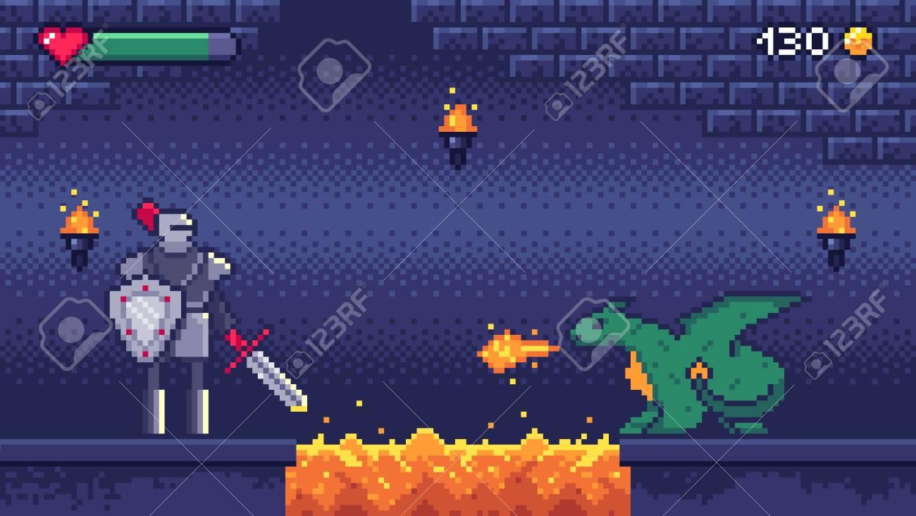 Pixel art game level. Hero warrior fights 8 bit dragon, pixels..