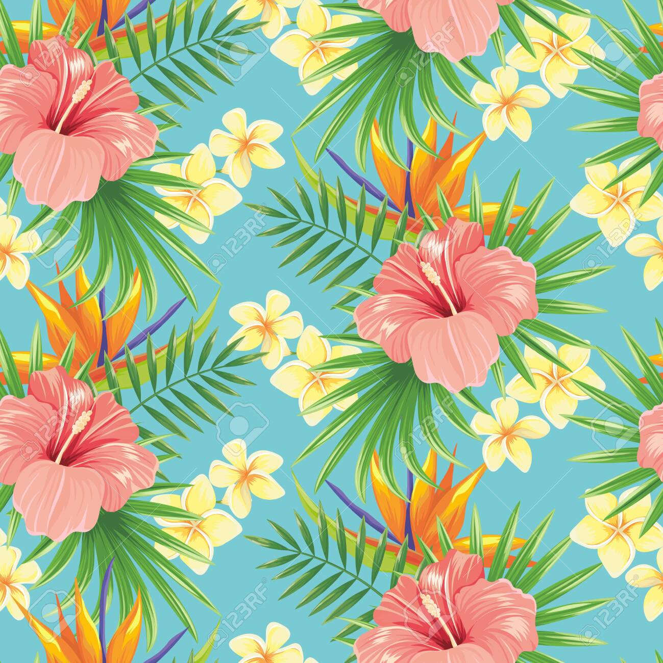 Flowers seamless pattern. Stylish spring flower, tropical plants leaves and floral ornamental tiles. Hawaiian tropic exotic hibiscus botanical wrapping vector background - 123970133