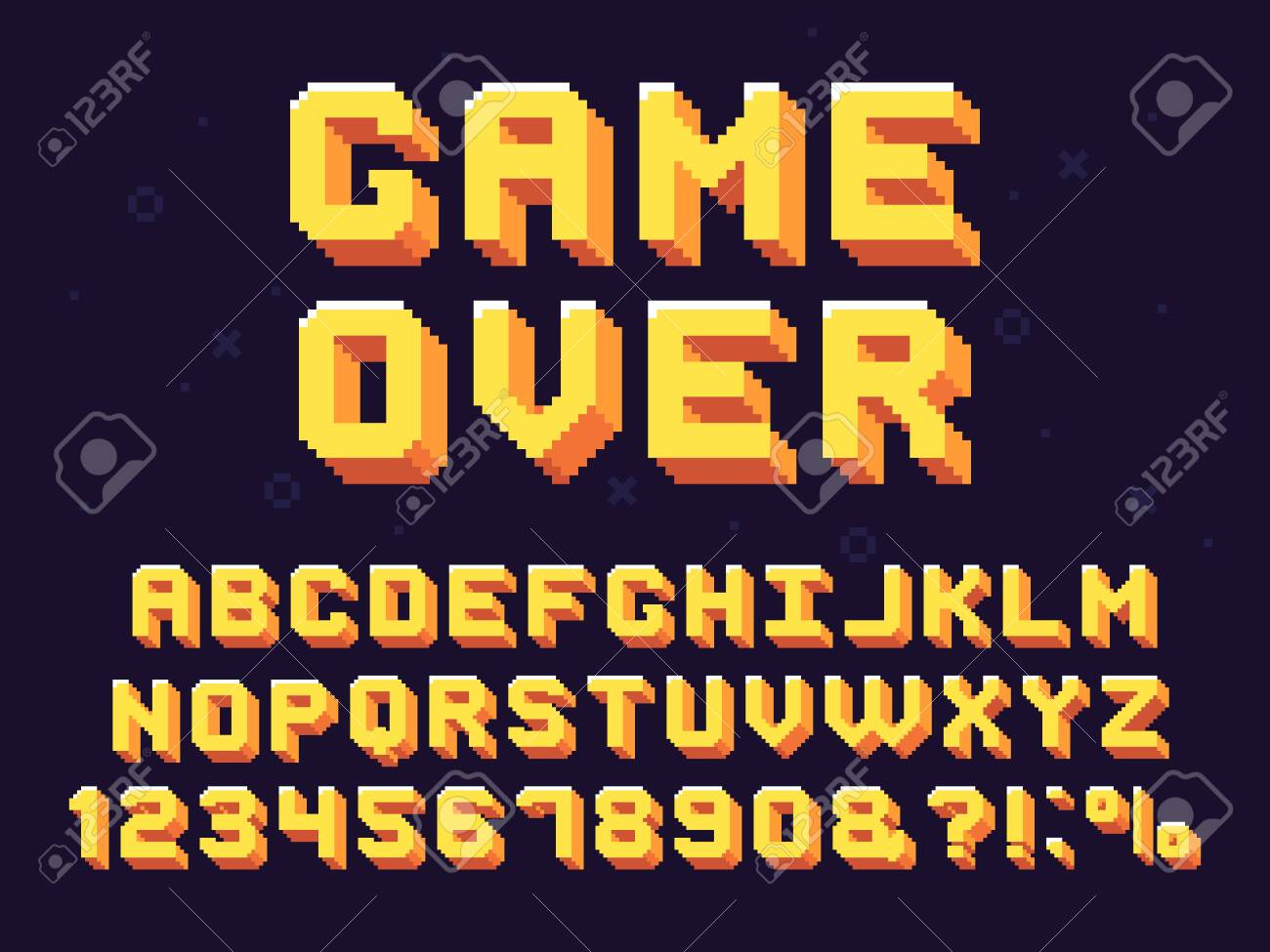 Pixel game font. Retro games text, 90s gaming alphabet and 8 bit computer graphic letters. Pixelated typeface letter, arcade game 8 bit pixel text and numbers retro vector symbols set - 123970138